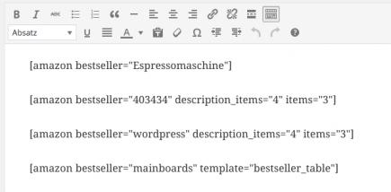 AAWP - Amazon Affiliate WordPress Plugin - Shortcodes anpassen