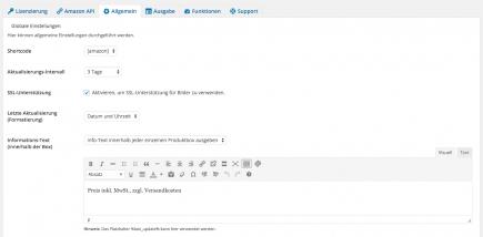 AAWP - Amazon Affiliate WordPress Plugin - Funktionen - Plugin Einstellungen Allgemein