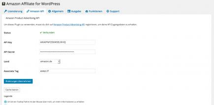 AAWP - Amazon Affiliate WordPress Plugin - Funktionen - Plugin Einstellungen Amazon API