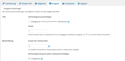 AAWP - Amazon Affiliate WordPress Plugin - Funktionen - Plugin Einstellungen Ausgabe Teil 1