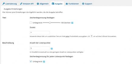 AAWP - Amazon Affiliate WordPress Plugin - Funktionen - Plugin Einstellungen Ausgabe Teil 1