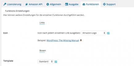 AAWP - Amazon Affiliate WordPress Plugin - Funktionen - Plugin Einstellungen Funktionen