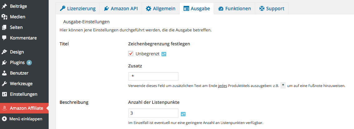 AAWP - Amazon Affiliate WordPress Plugin - Funktionen - Plugin Einstellungen Ausgabe