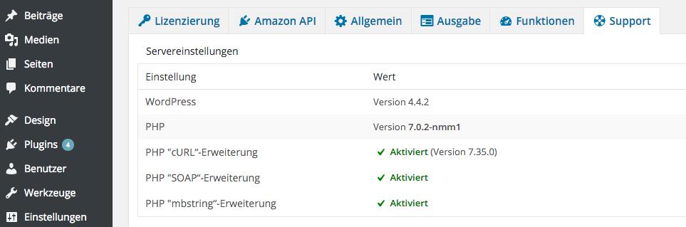 AAWP - Amazon Affiliate WordPress Plugin - Funktionen - Plugin Einstellungen Support