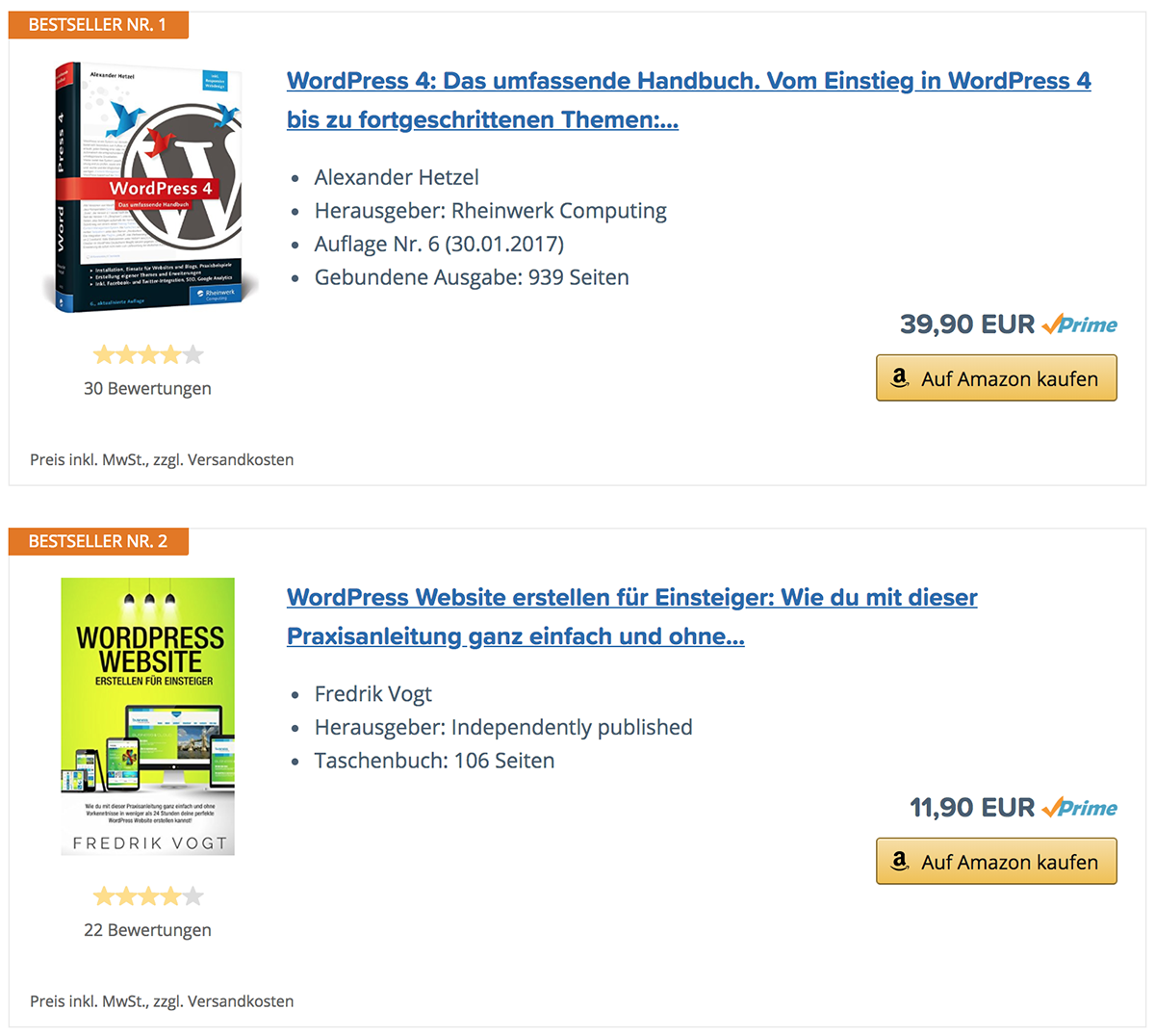 Bestseller-Listen aus dem Amazon Affiliate-Plugin AAWP