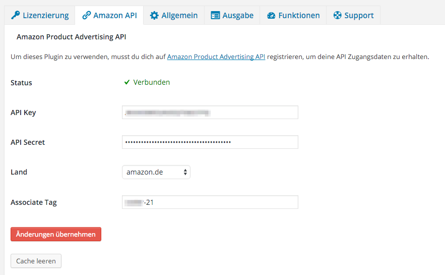 Amazon Affiliate WordPress Plugin - Einstellungen - Amazon API