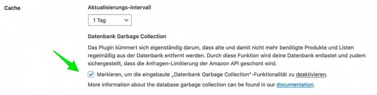AAWP Einstellungen - Datenbank Garbage Collection