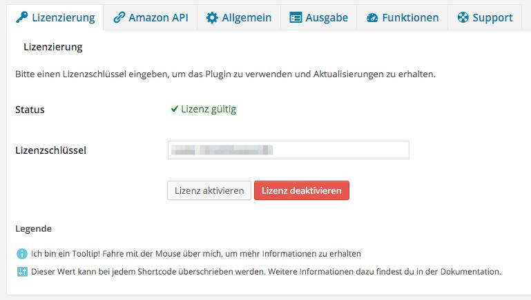 Amazon Affiliate WordPress Plugin - Einstellungen - Lizenzierung