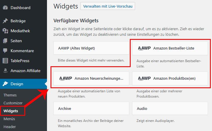 AAWP Guide - Widget Bereich
