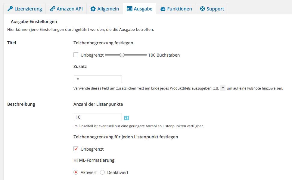 Amazon Affiliate WordPress Plugin - Einstellungen - Ausgabe - Vorschau