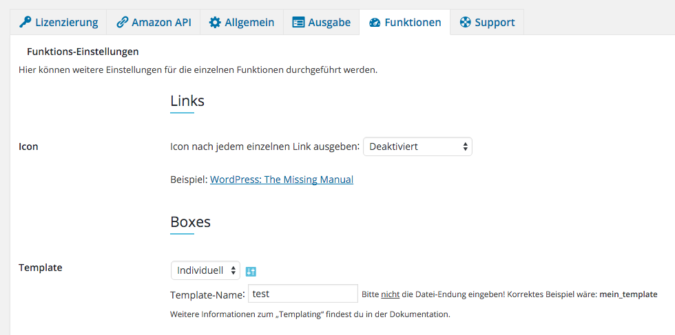Amazon Affiliate WordPress Plugin - Einstellungen - Funktionen - Vorschau