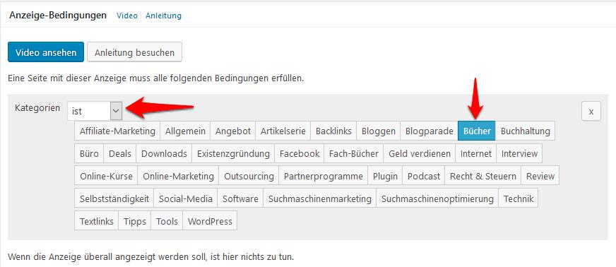 Advanced Ads Anzeige Bedingungen festlegen