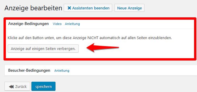 Advanced Ads Anzeige Bedingungen