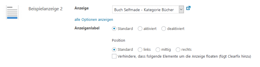 Advanced Ads Anzeige nach Inhalt