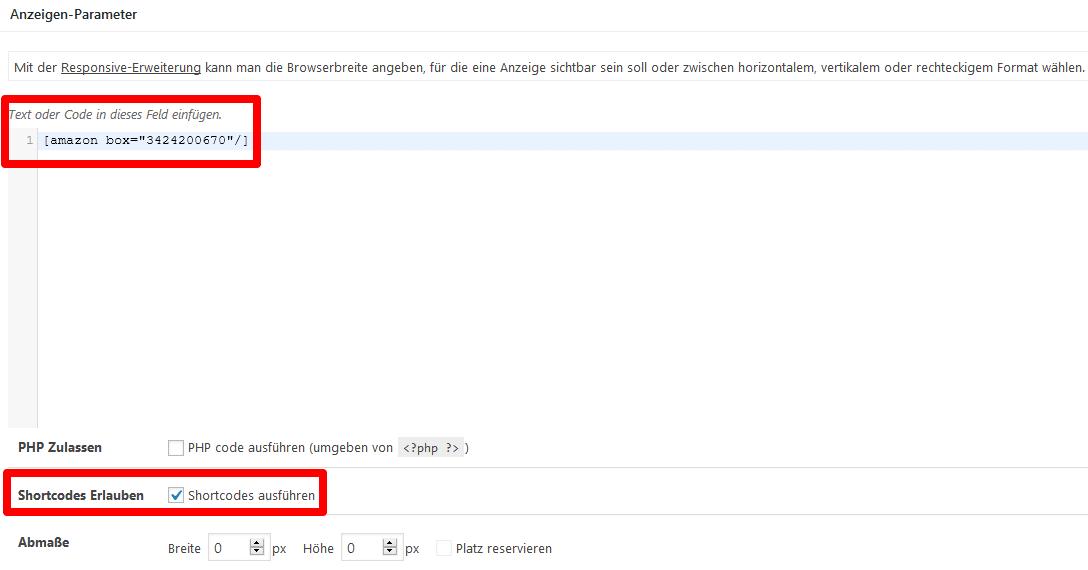 Advanced Ads Anzeige Parameter