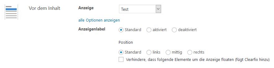 Advanced Ads vor dem Inhalt einfügen