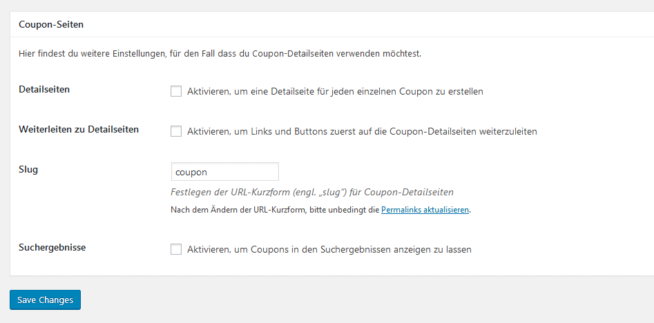 Affiliate Coupons Detailseiten