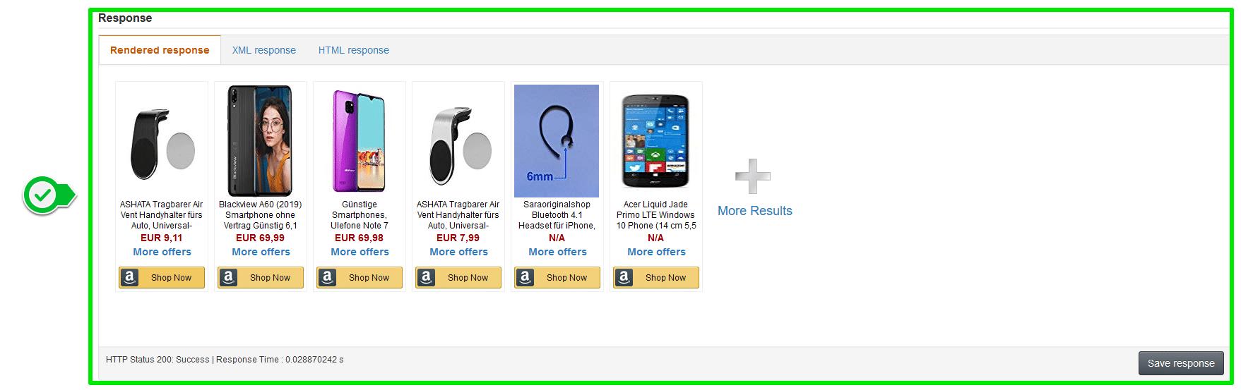 Amazon AWS Scratchpad - Response