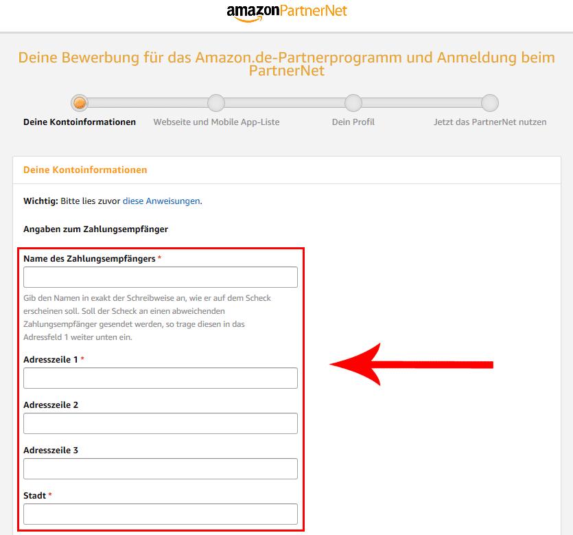 Amazon PartnerNet Registrierung - Affiliate Marketing