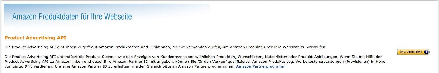 Amazon Product API - Anmelden