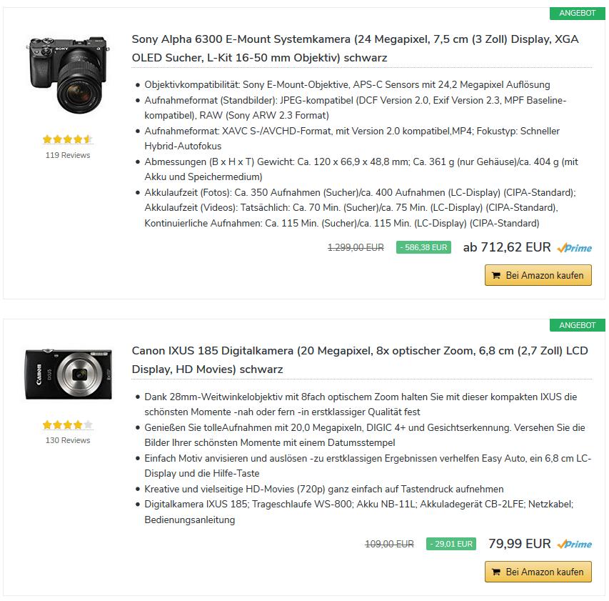 Amazon Angebote Produktboxen